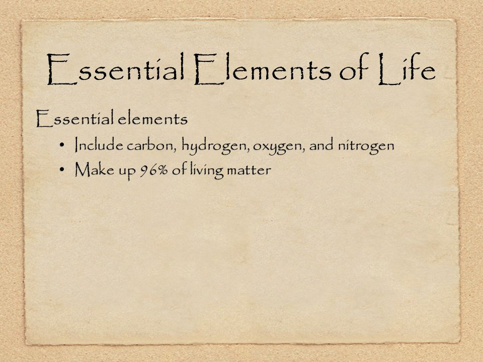 Essential Elements of Life Essential elements Include carbon, hydrogen, oxygen, and nitrogen Make up 96% of living matter Essential elements Include carbon, hydrogen, oxygen, and nitrogen Make up 96% of living matter