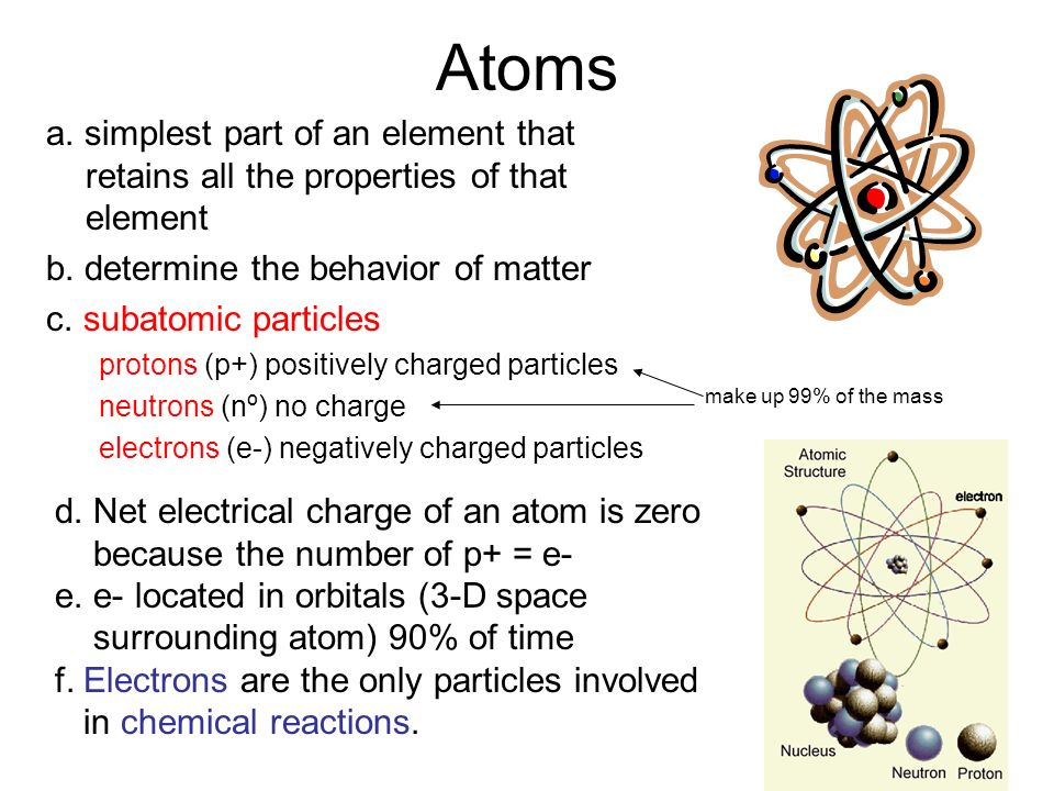 Atoms a. simplest part of an element that retains all the properties of that element b.