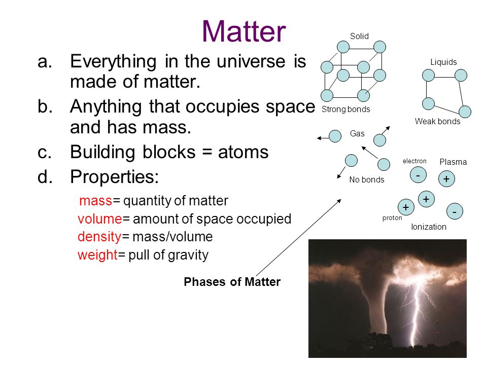 Matter a.Everything in the universe is made of matter.