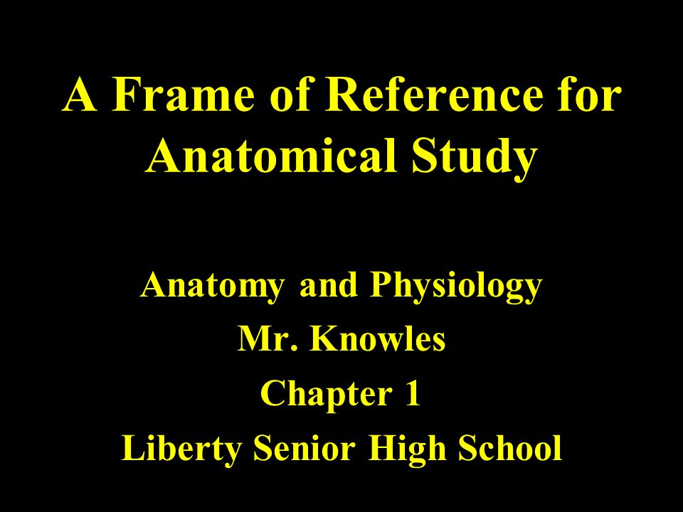 A Frame of Reference for Anatomical Study Anatomy and