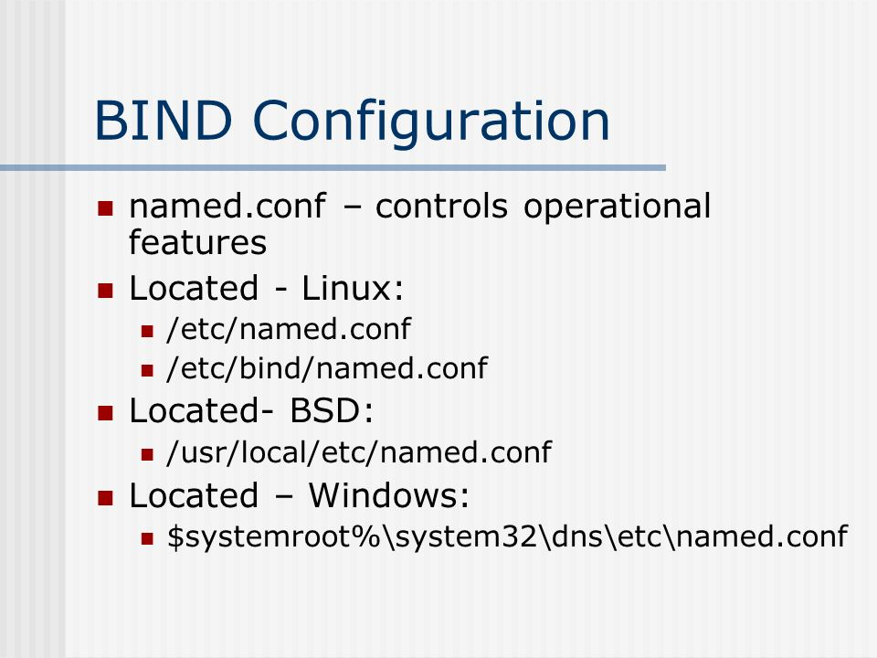 Slide Linux Etc Named Conf Bind Located Bsd Usr Local Windows Systemrootsystemdnsetc