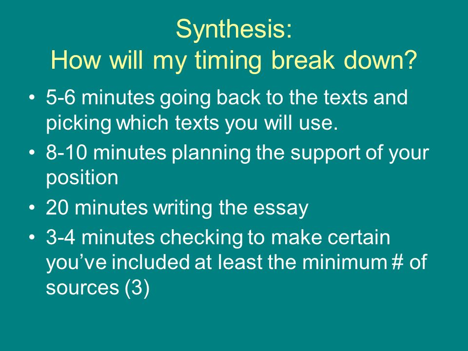 Synthesis: How will my timing break down.