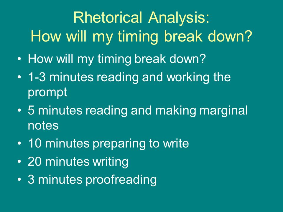 Rhetorical Analysis: How will my timing break down.