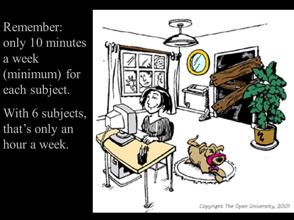 Remember: only 10 minutes a week (minimum) for each subject.