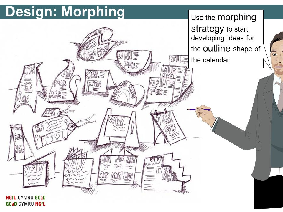 Design: Morphing Use the morphing strategy to start developing ideas for the outline shape of the calendar.