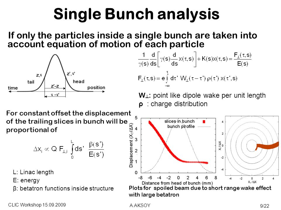 CLIC Workshop A.AKSOY 9/22 Single Bunch analysis If only the particles inside a single bunch are taken into account equation of motion of each particle For constant offset the displacement of the trailing slices in bunch will be proportional of L: Linac length E: energy β: betatron functions inside structure Plots for spoiled beam due to short range wake effect with large betatron W ┴ : point like dipole wake per unit length ρ : charge distribution