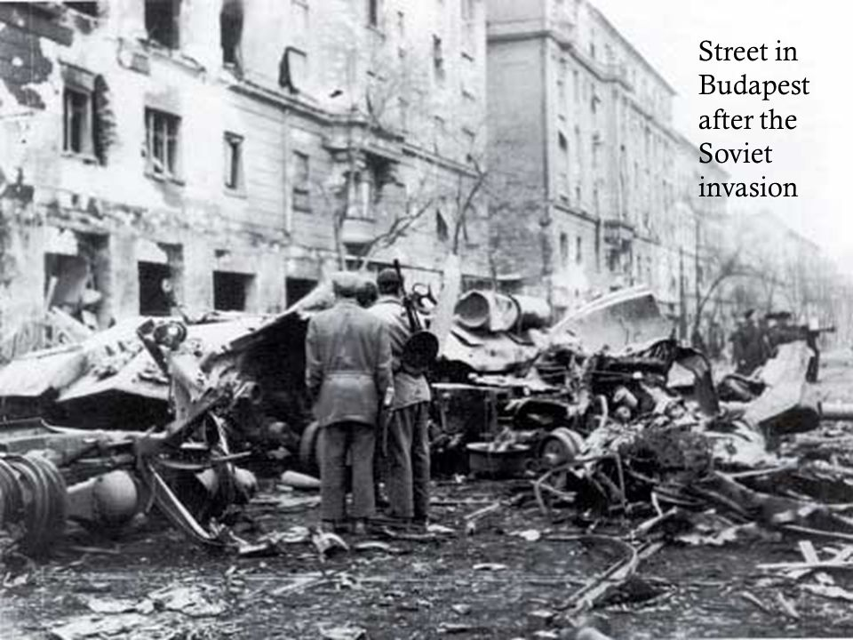 Street in Budapest after the Soviet invasion