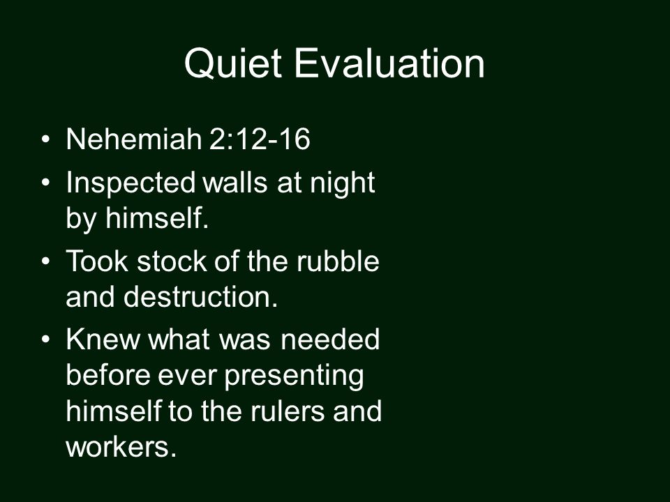 Quiet Evaluation Nehemiah 2:12-16 Inspected walls at night by himself.