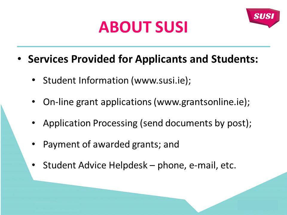 SUSI (STUDENT UNIVERSAL SUPPORT IRELAND)  SUSI STUDENT