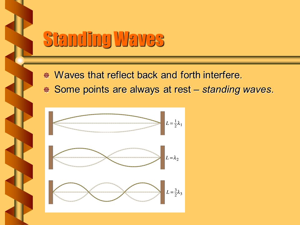 Standing Waves  Waves that reflect back and forth interfere.