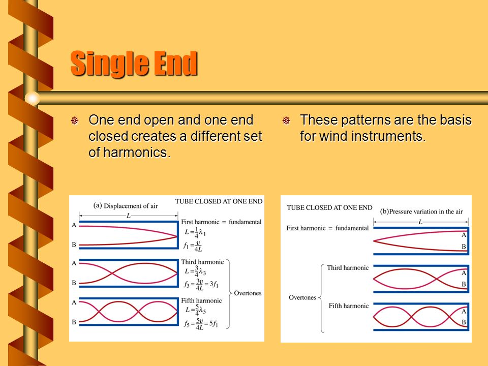 Single End  One end open and one end closed creates a different set of harmonics.