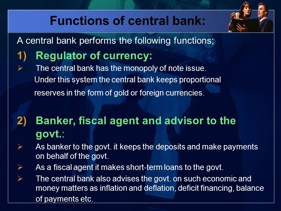 Ch 7 banking terms to know definition of bank 1 kinds of bank 2 functions of central bank a central bank performs the following functions 1regulator thecheapjerseys Choice Image