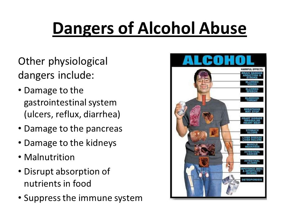 Dangers of Alcohol Abuse Other physiological dangers include: Damage to the gastrointestinal system (ulcers, reflux, diarrhea) Damage to the pancreas Damage to the kidneys Malnutrition Disrupt absorption of nutrients in food Suppress the immune system