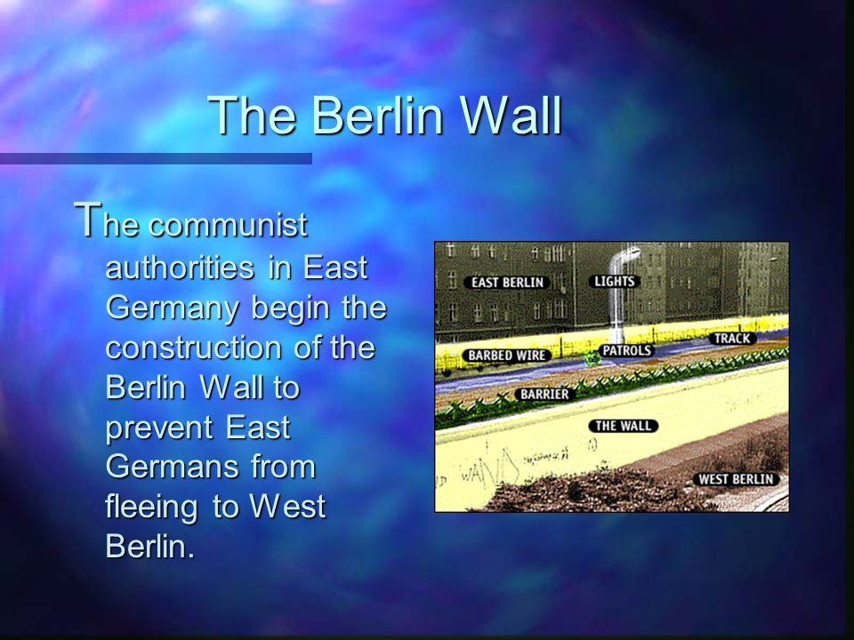 The Berlin Wall T he communist authorities in East Germany begin the construction of the Berlin Wall to prevent East Germans from fleeing to West Berlin.
