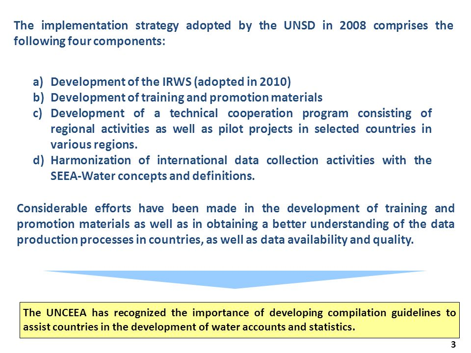 3 The implementation strategy adopted by the UNSD in 2008 comprises the following four components: The UNCEEA has recognized the importance of developing compilation guidelines to assist countries in the development of water accounts and statistics.