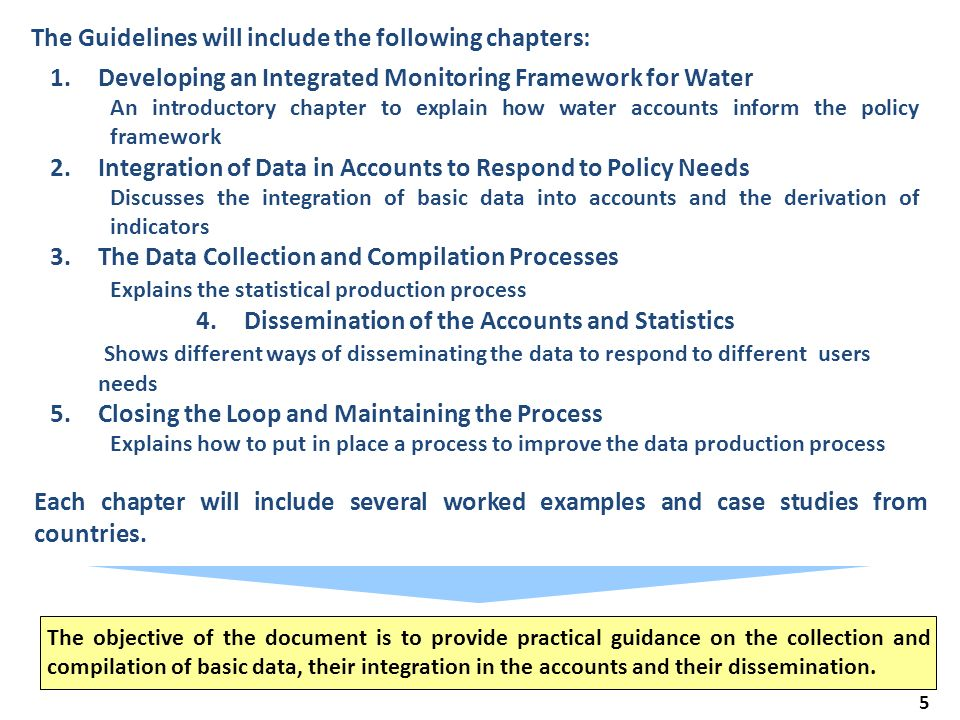5 The Guidelines will include the following chapters: The objective of the document is to provide practical guidance on the collection and compilation of basic data, their integration in the accounts and their dissemination.
