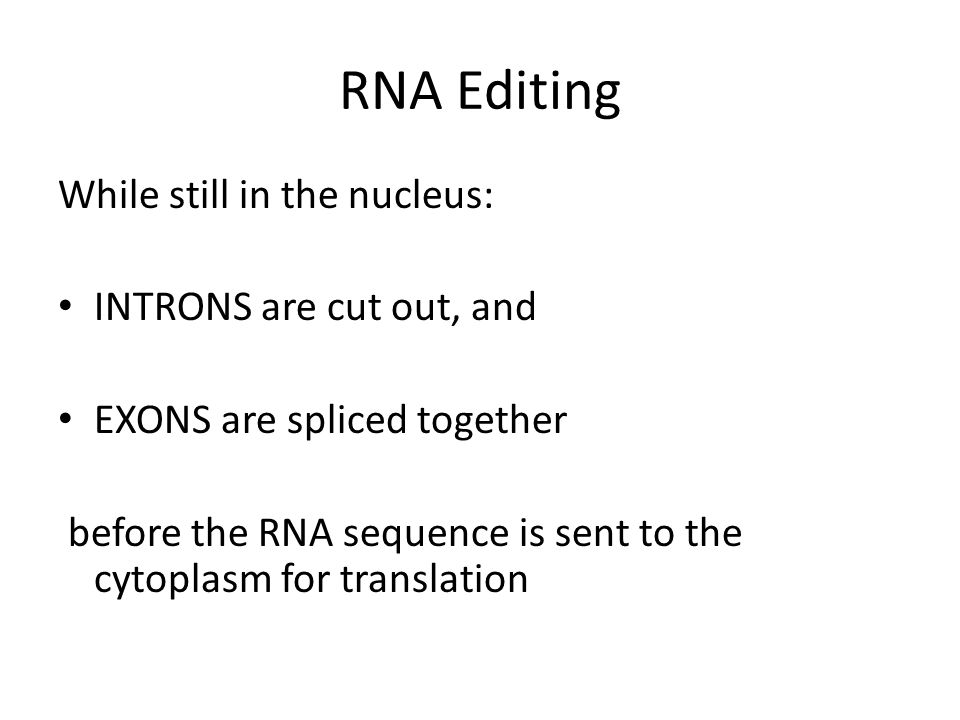 RNA Editing While still in the nucleus: INTRONS are cut out, and EXONS are spliced together before the RNA sequence is sent to the cytoplasm for translation