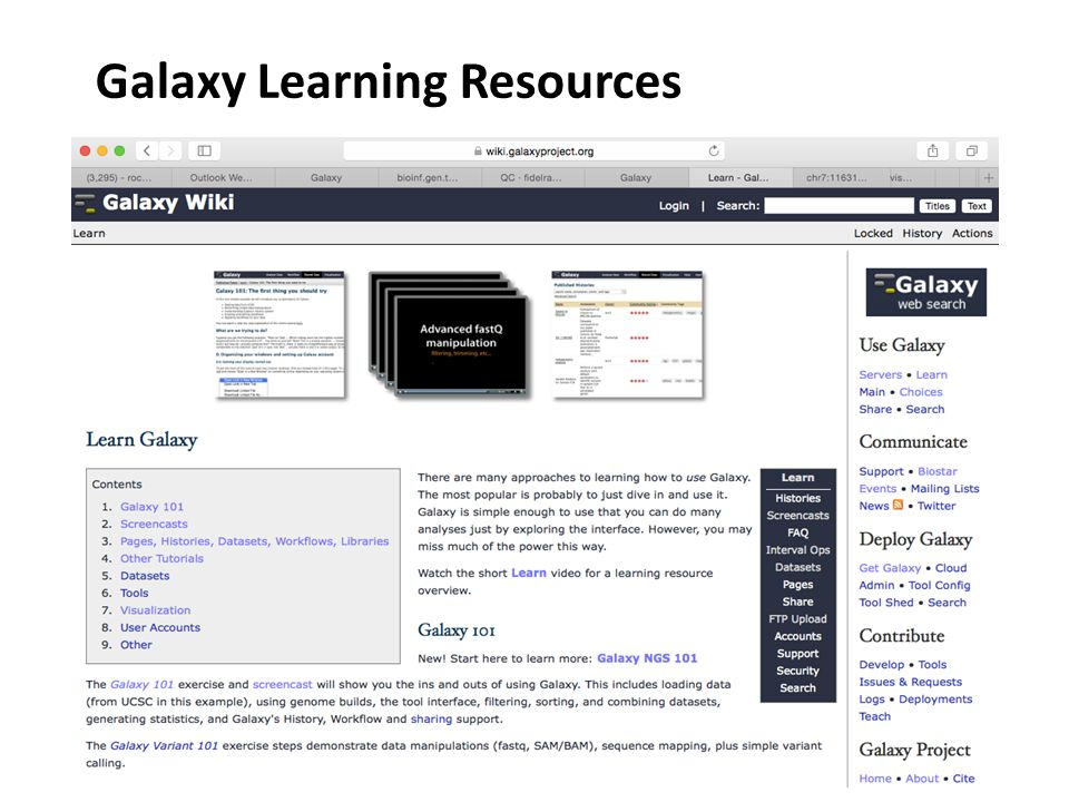 Galaxy Learning Resources