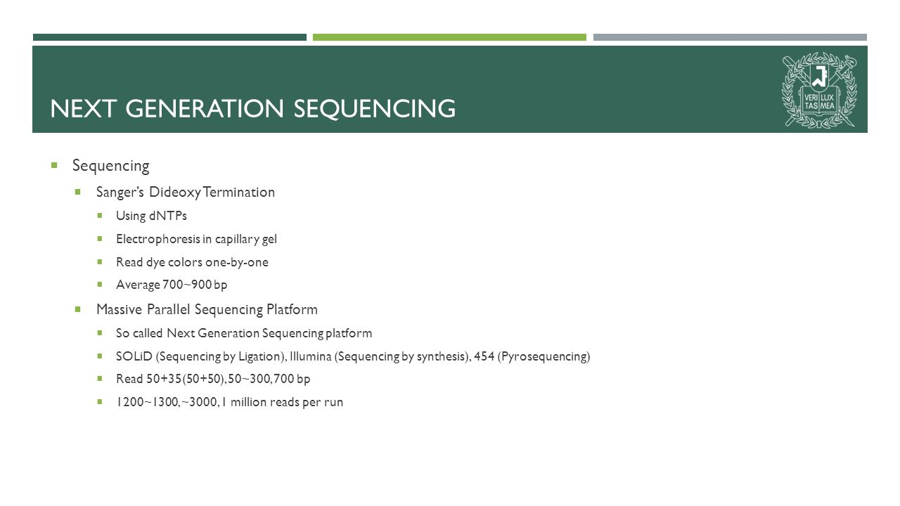NEXT GENERATION SEQUENCING  Sequencing  Sanger's Dideoxy Termination  Using dNTPs  Electrophoresis in capillary gel  Read dye colors one-by-one  Average 700~900 bp  Massive Parallel Sequencing Platform  So called Next Generation Sequencing platform  SOLiD (Sequencing by Ligation), Illumina (Sequencing by synthesis), 454 (Pyrosequencing)  Read 50+35(50+50), 50~300, 700 bp  1200~1300, ~3000, 1 million reads per run