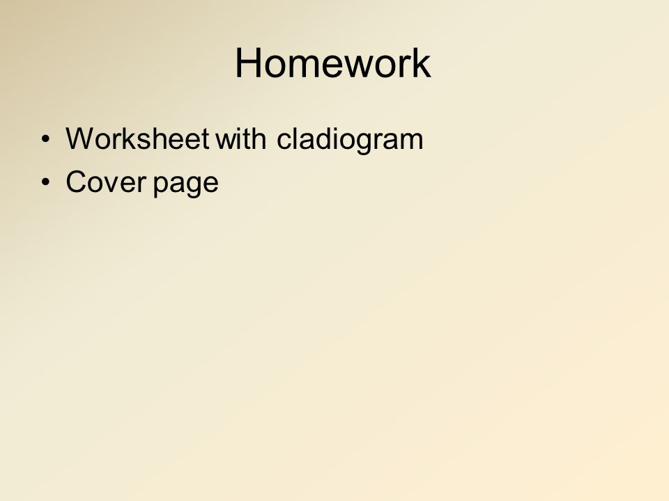 Homework Worksheet with cladiogram Cover page