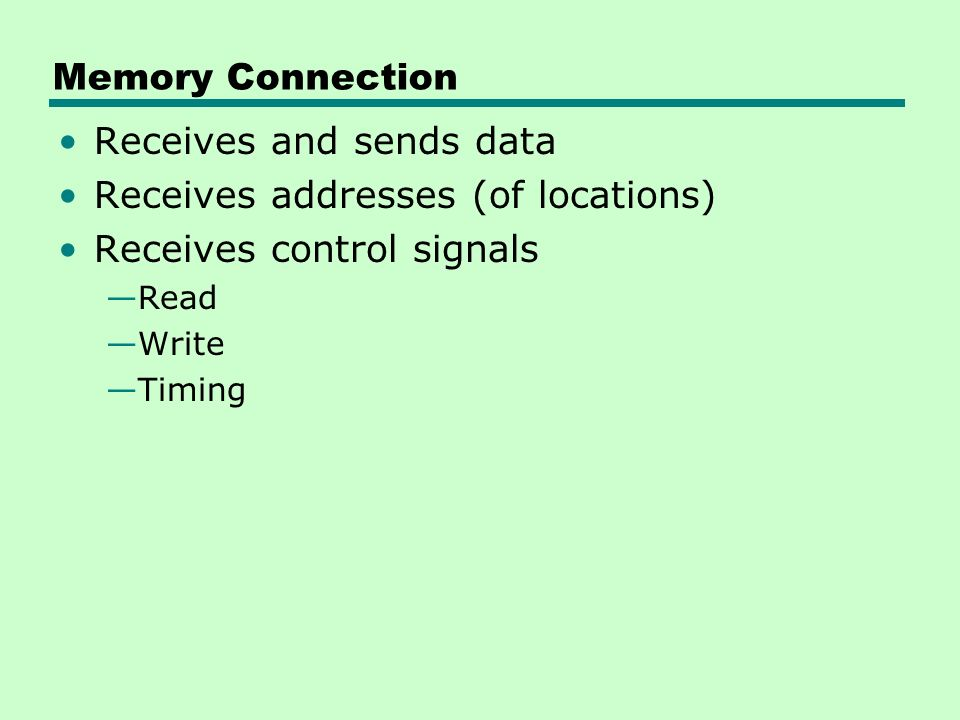 Memory Connection Receives and sends data Receives addresses (of locations) Receives control signals —Read —Write —Timing