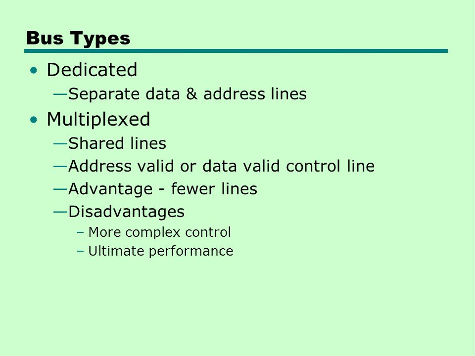 Bus Types Dedicated —Separate data & address lines Multiplexed —Shared lines —Address valid or data valid control line —Advantage - fewer lines —Disadvantages –More complex control –Ultimate performance