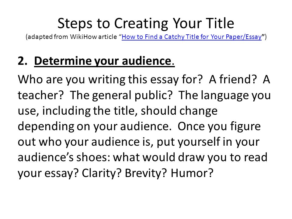 Steps To Creating Your Title Adapted From WikiHow Article How Find A Catchy