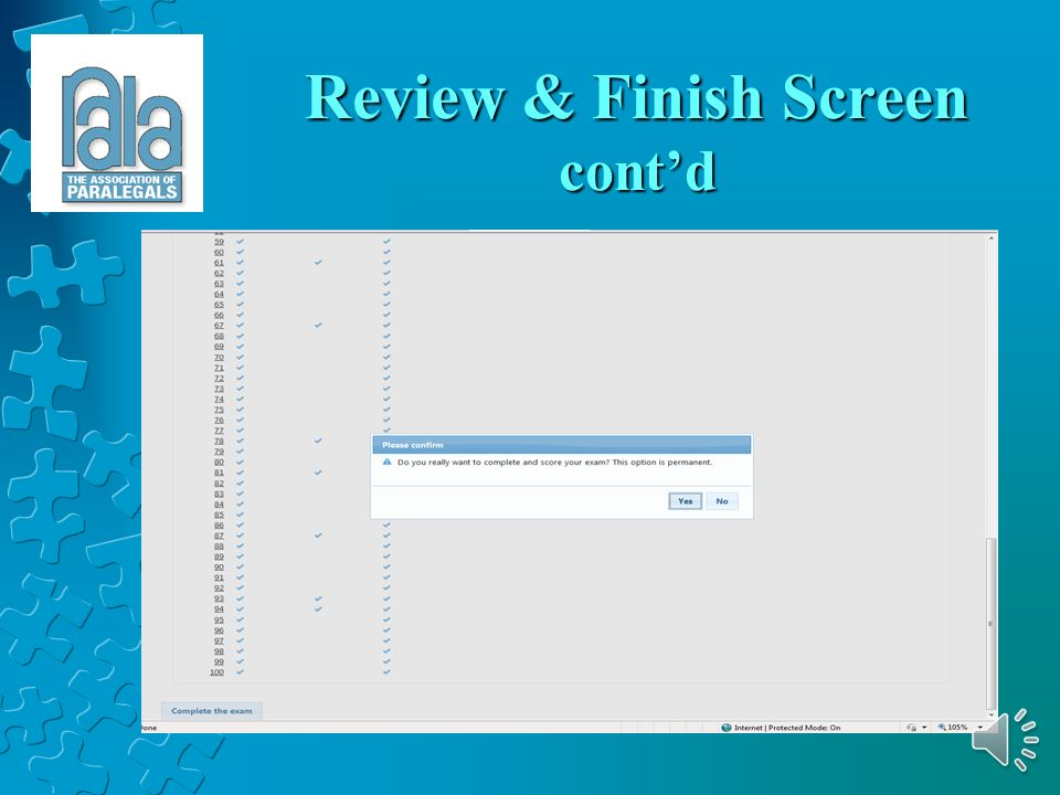 Review & Finish Screen