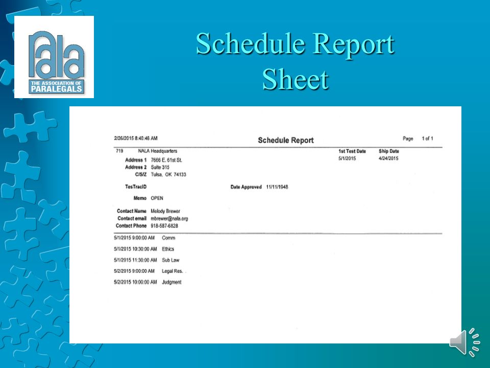 Examinee Report Sheet