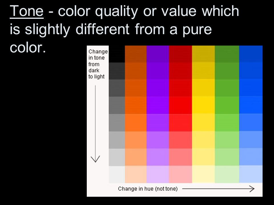 Tone - color quality or value which is slightly different from a pure color.