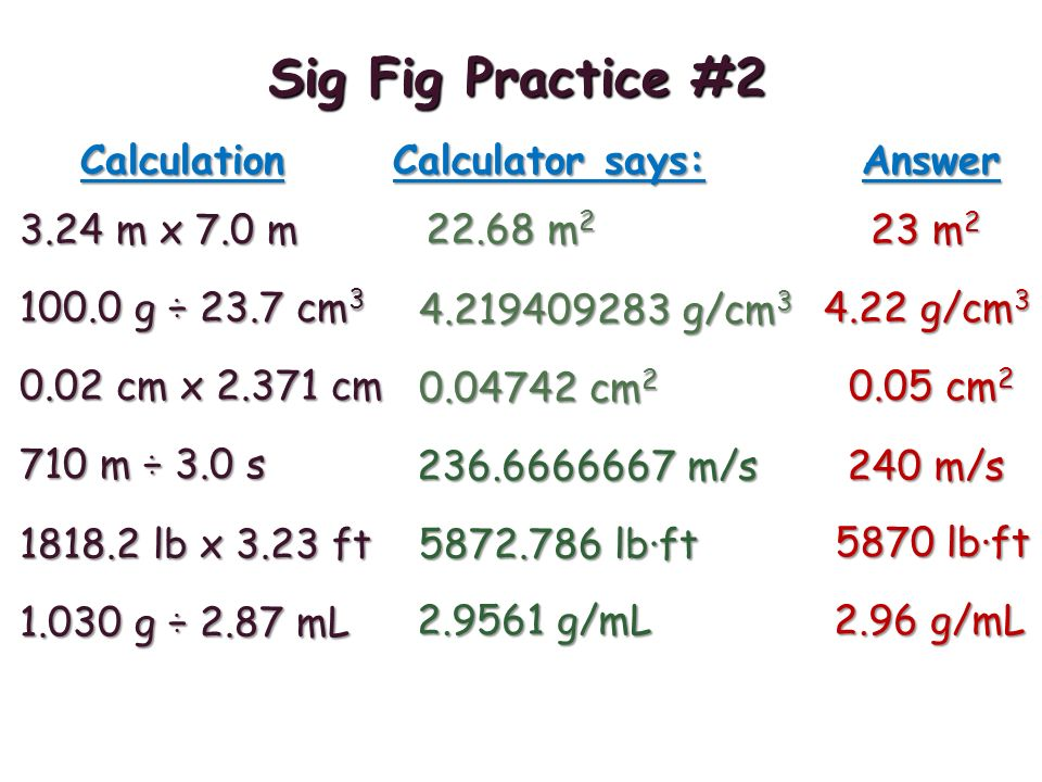 Sig Fig Practice # m x 7.0 m Calculation Calculator says: Answer m 2 23 m g ÷ 23.7 cm g/cm g/cm cm x cm cm cm m ÷ 3.0 s m/s 240 m/s lb x 3.23 ft lb·ft 5870 lb·ft g ÷ 2.87 mL g/mL 2.96 g/mL