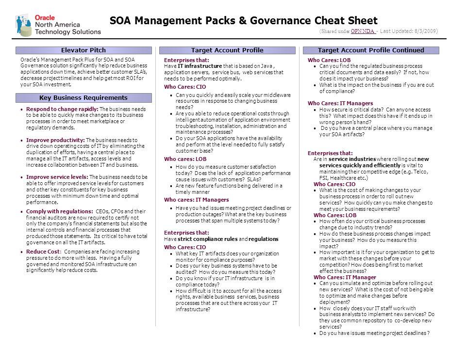 1 soa management packs governance cheat sheet