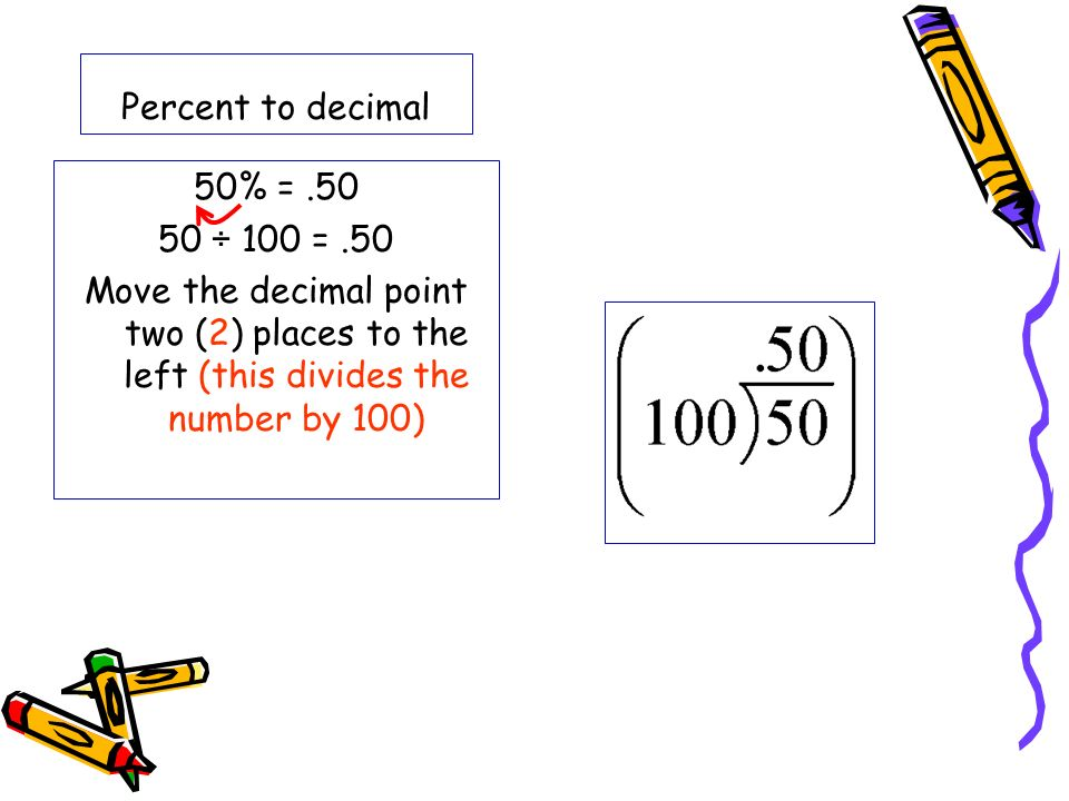 Percent to decimal 50% = ÷ 100 =.50 Move the decimal point two (2) places to the left (this divides the number by 100)