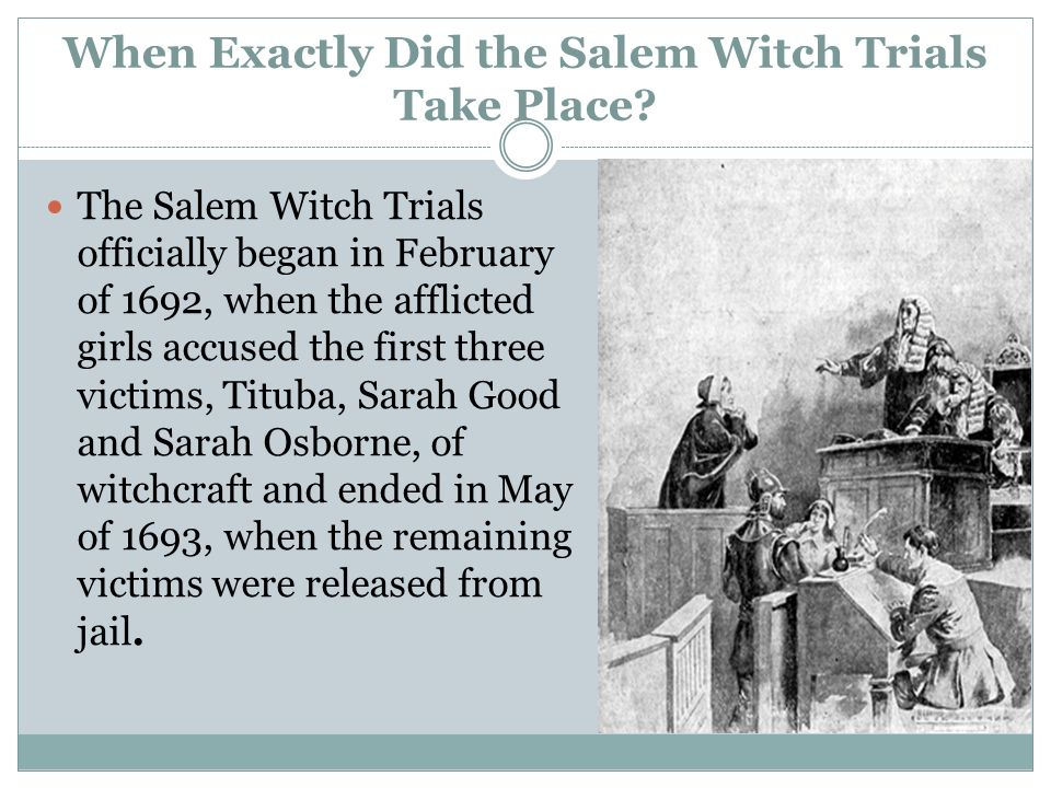 a history of salem witchcraft trials in colonial massachusetts The salem witch trials were a regretable episode in colonial american history in salem, massachusetts, in 1692, numerous innocent people were convicted on charges of making pacts with devils and demons and executed by hanging.