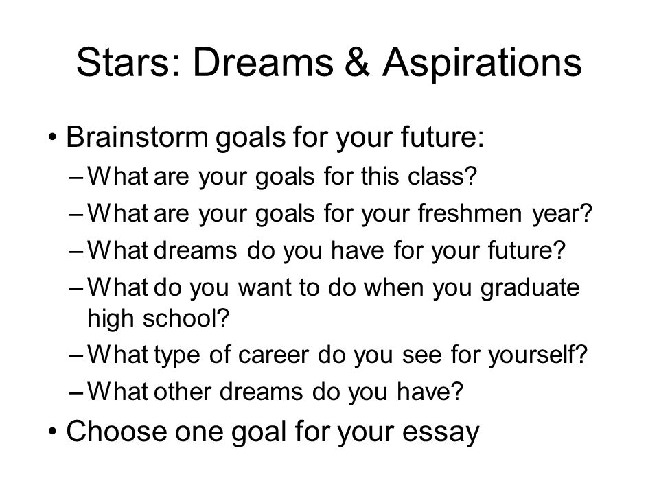 Goal Essay Stars Dreams  Aspirations Brainstorm Goals For Your  Stars Dreams  Aspirations Brainstorm Goals For Your Future What Are  Your Goals Reflective Essay Thesis also English Essay Question Examples Sample Narrative Essay High School