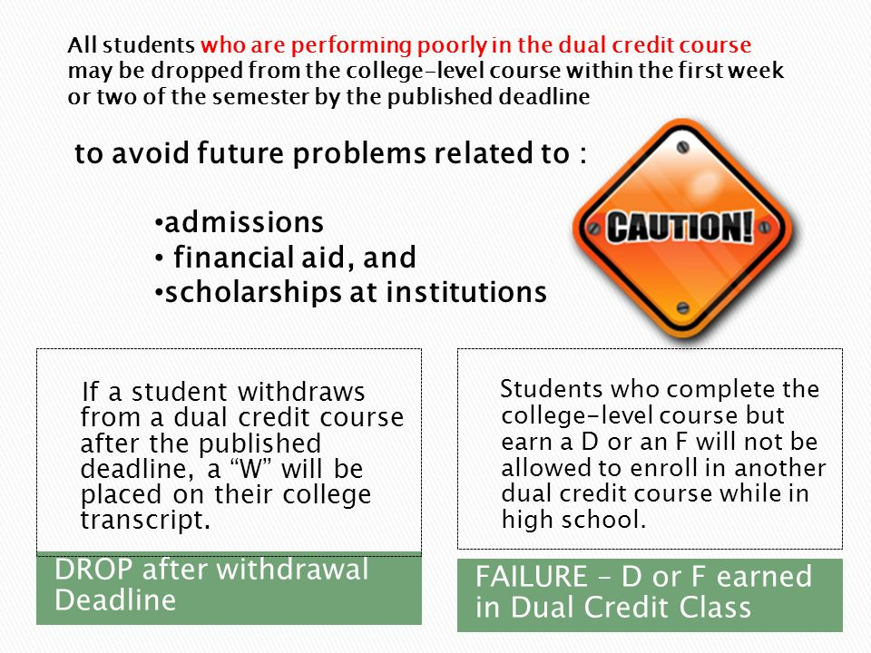 DROP after withdrawal Deadline If a student withdraws from a dual credit course after the published deadline, a W will be placed on their college transcript.