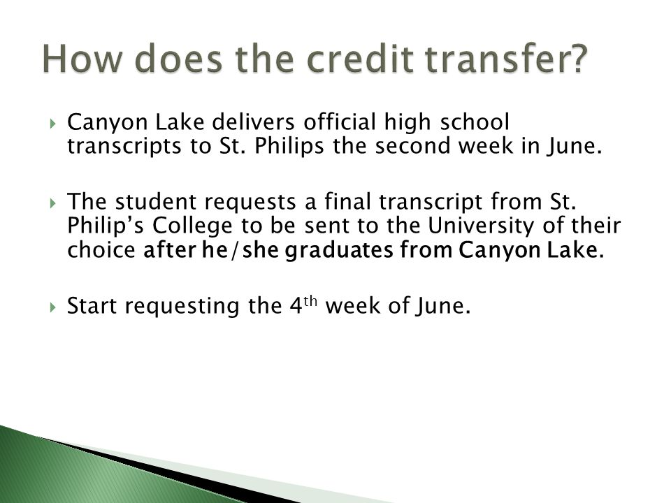  Canyon Lake delivers official high school transcripts to St.