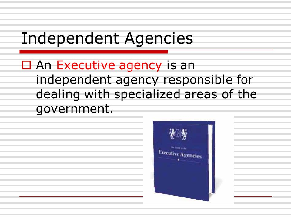 Independent Agencies  An Executive agency is an independent agency responsible for dealing with specialized areas of the government.