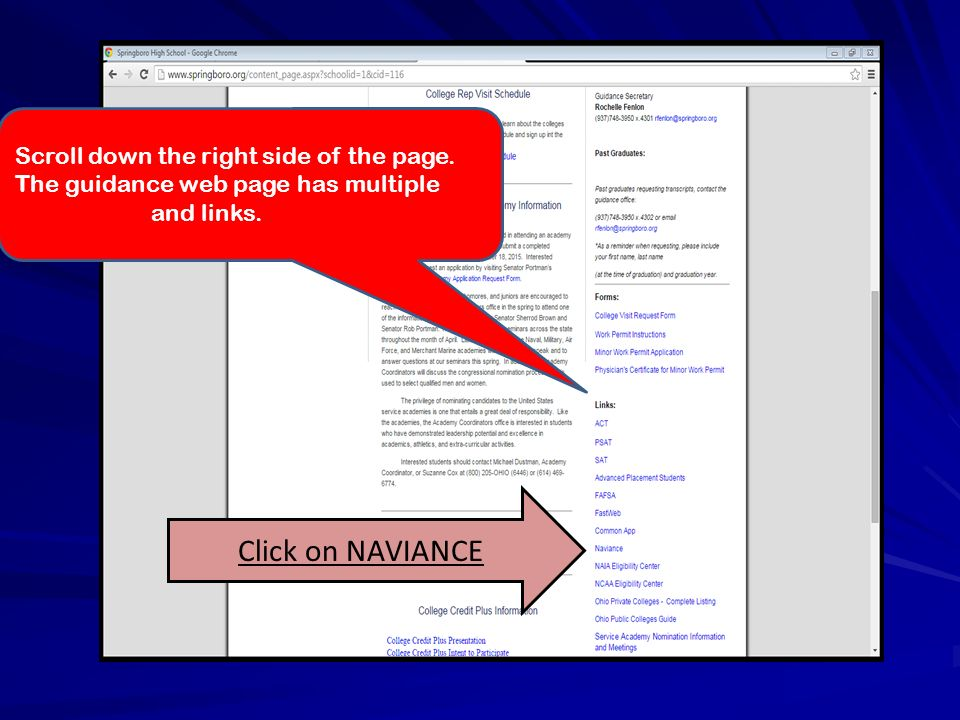 Scroll down the right side of the page. The guidance web page has multiple documents and links.