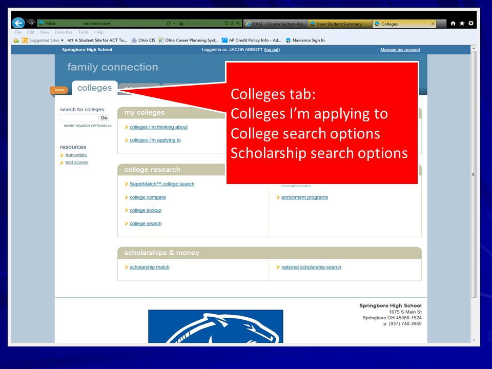 Colleges tab: Colleges I'm applying to College search options Scholarship search options