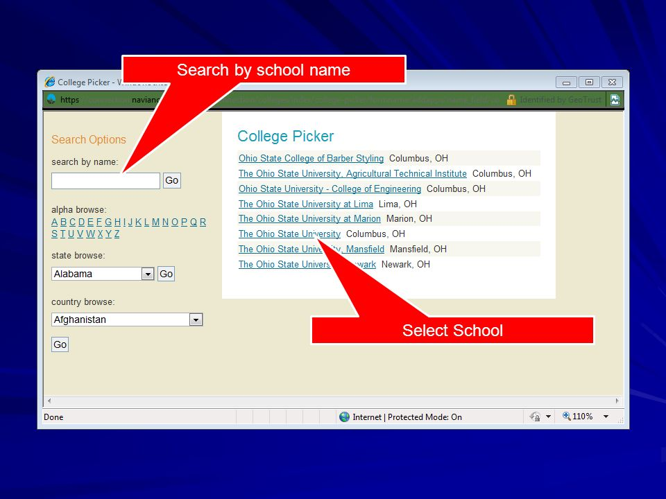 Search by school name Select School