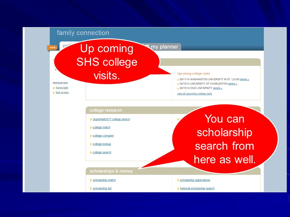 You can scholarship search from here as well. Up coming SHS college visits.