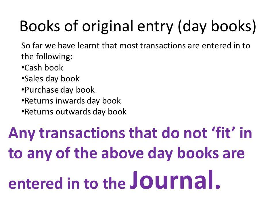 books of original entry