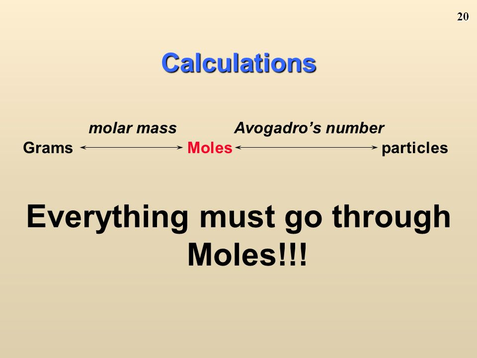 19 Atoms/Molecules and Grams Since 6.02 X particles = 1 mole AND 1 mole = molar mass (grams) You can convert atoms/molecules to moles and then moles to grams.