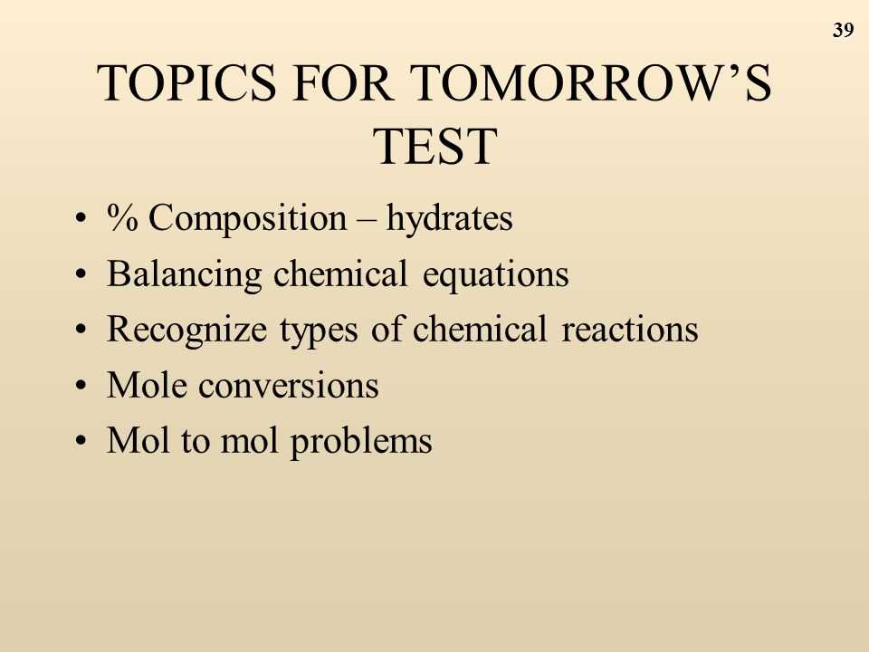 38 APRIL 16 Objective: To practice mol to mol problems and to review for tomorrow's test DO NOW : Read 'Mathematics of chemistry part 2 – Stoichiometry' and DO PROBLEMS 1 TO 8