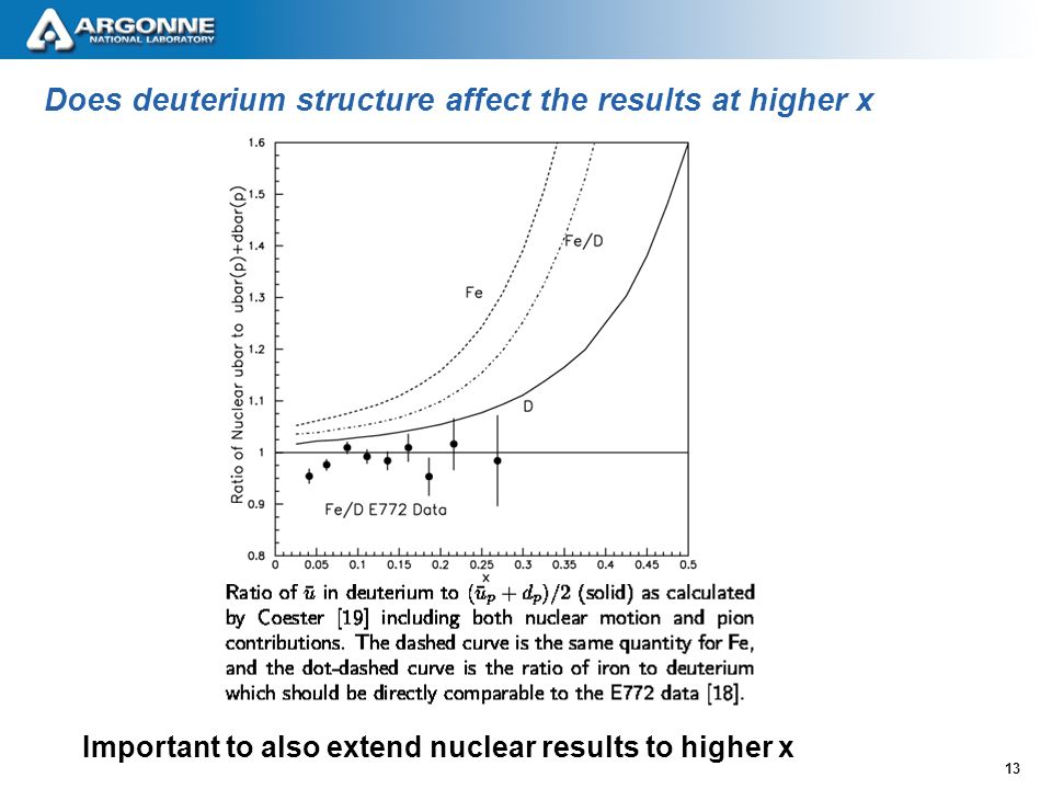 13 Does deuterium structure affect the results at higher x Important to also extend nuclear results to higher x