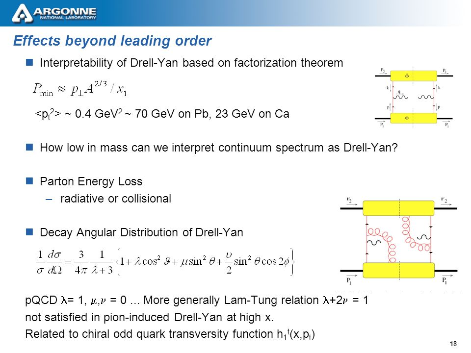 18 Effects beyond leading order Interpretability of Drell-Yan based on factorization theorem ~ 0.4 GeV 2 ~ 70 GeV on Pb, 23 GeV on Ca How low in mass can we interpret continuum spectrum as Drell-Yan.