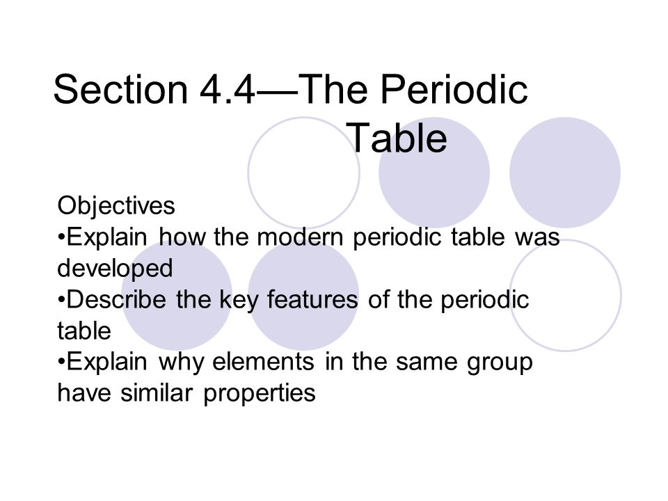 Section 44the Periodic Table Objectives Explain How The Modern