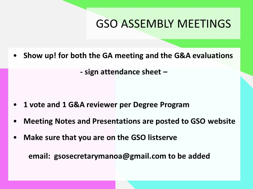 information for new representatives general assembly meetings grants