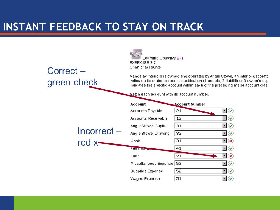 INSTANT FEEDBACK TO STAY ON TRACK Correct – green check Incorrect – red x
